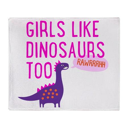 CafePress - Girls Like Dinosaurs Too RAWRRHH - Soft Fleece Throw Blanket, 50