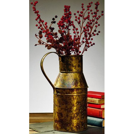 Antique Primitive Vintage Brass Gold Color Vintage Replica Milk Can Flower Floral Vase (Brass Flower Vase)