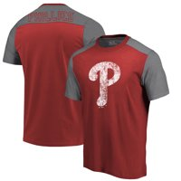 Philadelphia Phillies Majestic Threads Color Blocked T-Shirt - Red/Gray