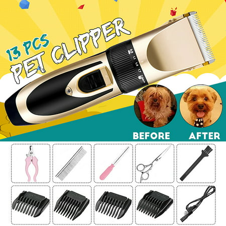 13pcs Electric Hair Trimmer Pet Dog Cat Grooming Shaver
