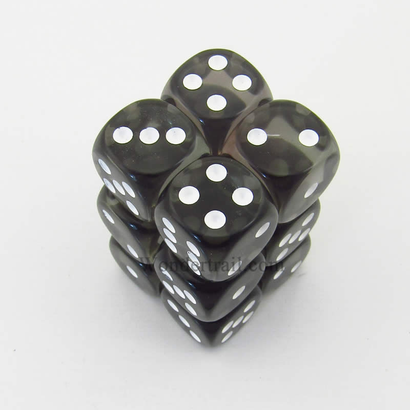 Smoke Translucent D6 Dice with White Pips 16mm (5/8in) Pack of 12 Chessex