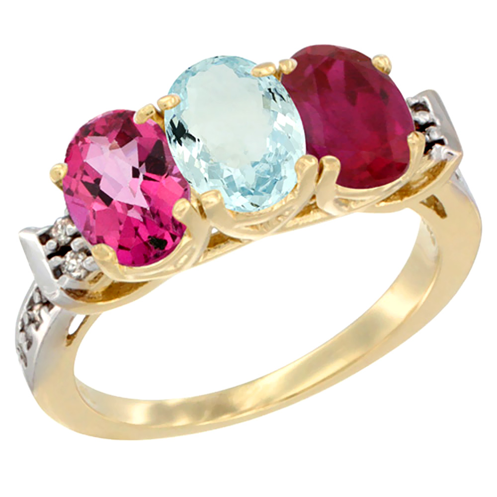 10K Yellow Gold Natural Pink Topaz, Aquamarine & Enhanced Ruby Ring 3-Stone Oval 7x5 mm Diamond Accent, sizes 5 10 by WorldJewels