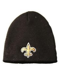 New Orleans Saints NFL Black Skull Cap Cuffless Beanie Winter Knit Hat by Team Apparel