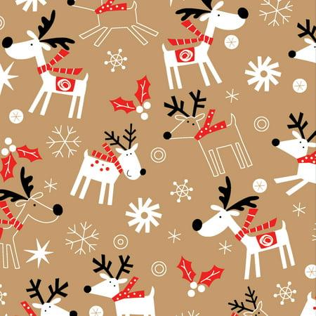 Jillson   Roberts Bulk Gift Wrap  Reindeer Hop Kraft  1 4 Ream 208 X 30