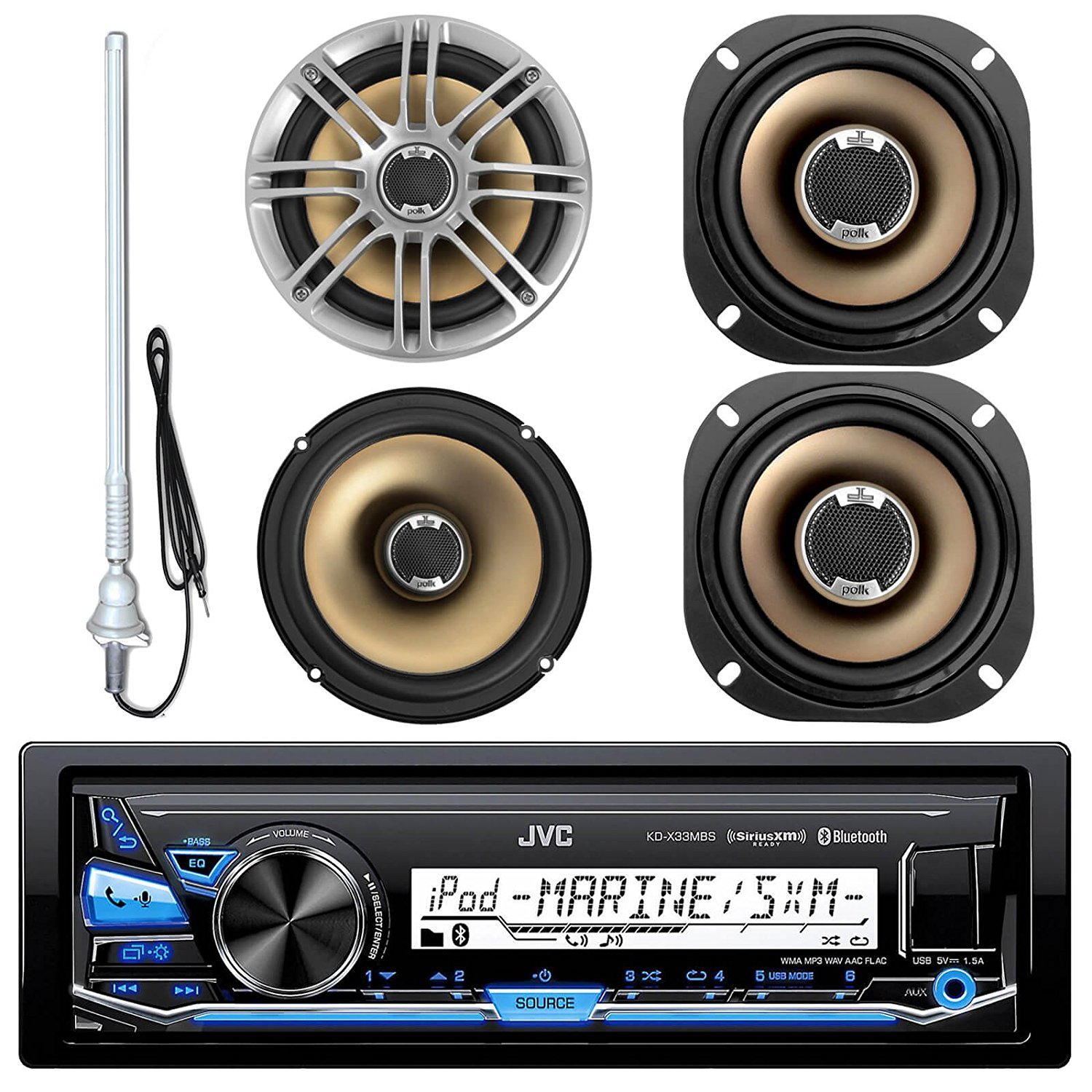 """JVC KD-X33MBS MP3/USB/AUX Bluetooth Marine Boat Yacht Stereo Receiver Bundle Combo With 2 Polk Audio 6.5"""" Audio Speakers + 2x 5"""" 2-Way Car/Boat Coaxial Speaker + Enrock 22"""" Radio Antenna"""