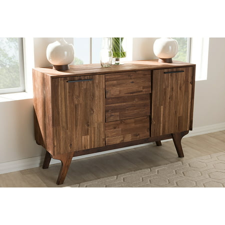 Baxton Studio Sierra Mid-Century Modern Brown Wood 3-Drawer Sideboard