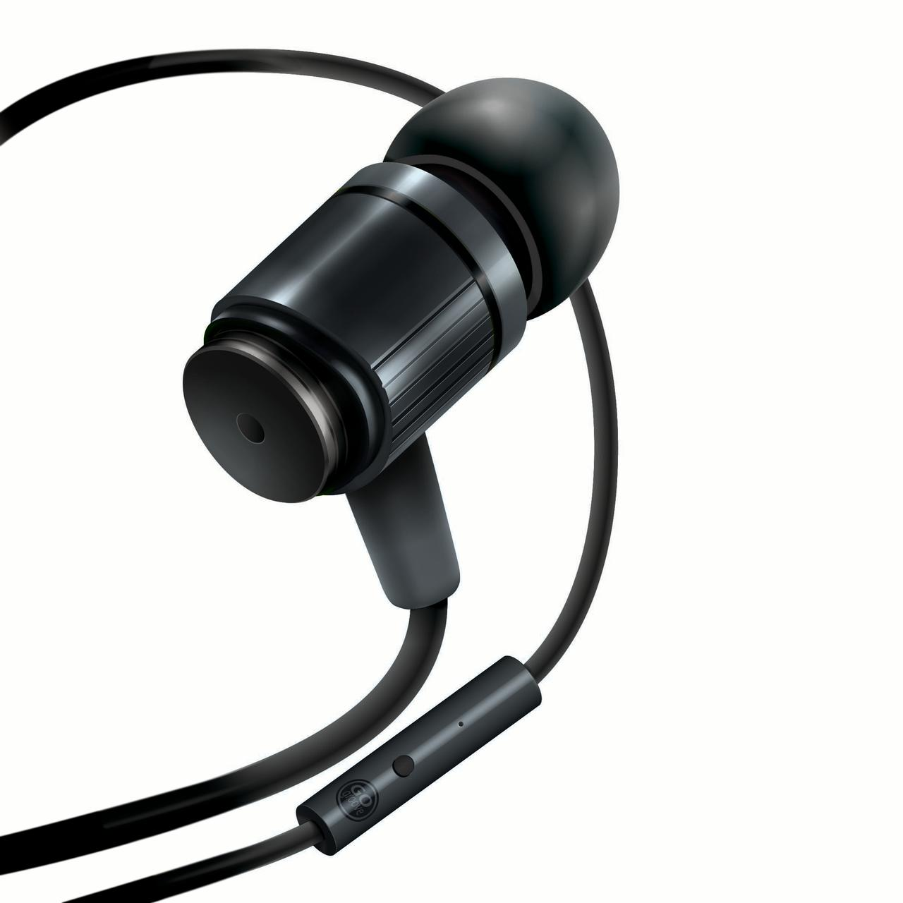 Rugged AudiOHM RNF Black Ergonomic Earbud Headphones with Lifetime Warranty by GOgroove feat. Handsfree Mic and Military Grade Materials used in Body Armor for Apple , Samsung , HTC and More