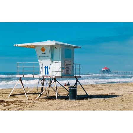 Canvas Print Water Ocean Stand Sea Building Shack Lifeguard Stretched Canvas 10 x 14