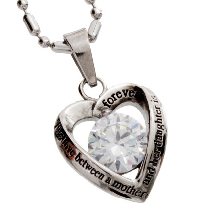 R H  Jewelry Stainless Steel Womens Pendant Mother Daughter Cz Heart Necklace