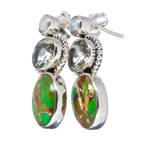 "Ana Silver Co Green Copper Composite Turquoise, Green Amethyst, Cultured Pearl 925 Sterling Silver Earrings 1 1/4"" EARR320121"