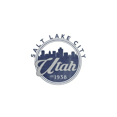 Salt Lake City, Utah - Skyline Seal (Blue) Print Wall Art By Lantern Press - Costumes Salt Lake City