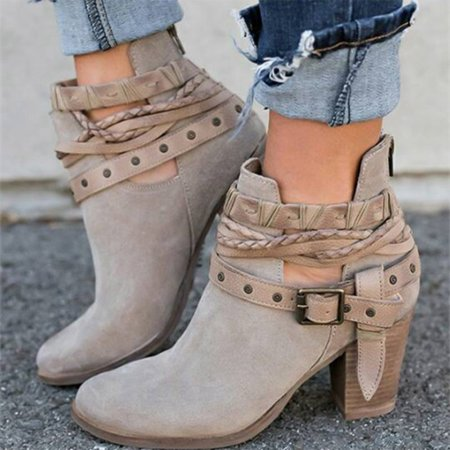 Fancyleo Latest 2019 Hot Sale !! Women Spring Autumn Ankle Short Casual Bandage Weaving Lace Leather High Heels Boots Sexy Women Boots