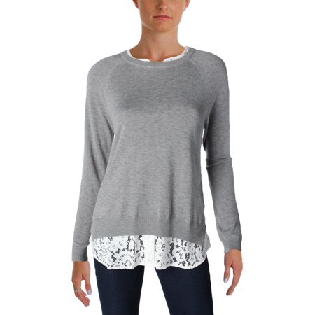 Joie Womens ZAAN K Heathered Lace Trim Crewneck Sweater