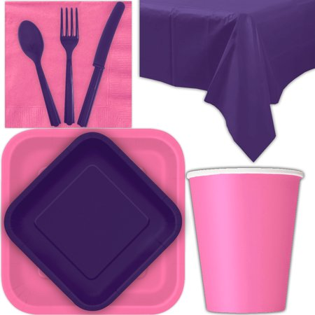 Hot Pink Square Dessert (Disposable Party Supplies for 28 Guests - Hot Pink and Deep Purple - Square Dinner Plates, Square Dessert Plates, Cups, Lunch Napkins, Cutlery, and Tablecloths:  Tableware Set)