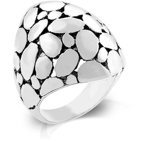 Kate Bissett R07823R-V01-06 Genuine Rhodium Plated Cobblestone Ring with Black Jewelers Ink in Silvertone - Size 6