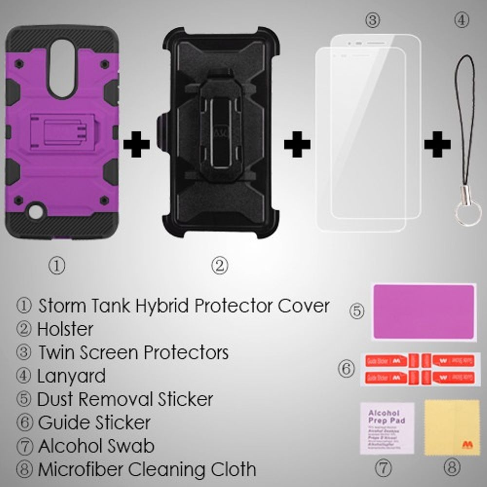 LG Aristo phone case, LG K8 2017 phone case, LG K4 2017 phone case, by Insten 3-in-1 Storm Tank Hybrid Stand Holster Combo Case For LG Aristo/Fortune/K4 (2017)/K8 (2017)/LV3/Phoenix 3 - Purple/Black - image 1 de 3
