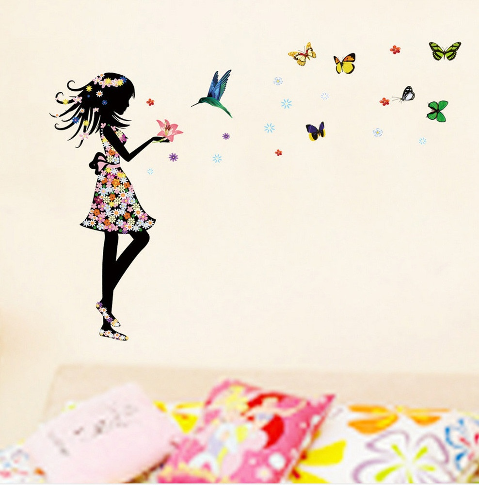 Outgeek Wall Stickers Removable Waterproof Butterflies Flowers Little Girls Wall Art Decor Mural Decal Sticker for Home Bedroom Living Room Kindergarten Women Girls Kids
