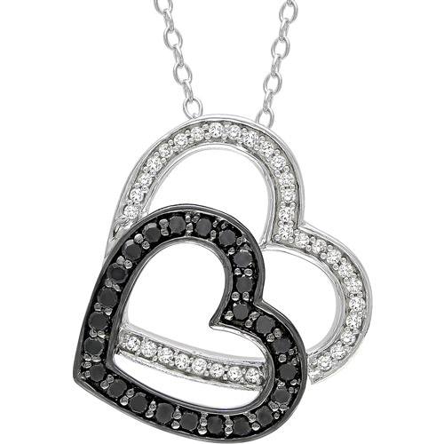 1/3 Carat T.W. Black and White Diamond Sterling Silver Heart Pendant, 18""