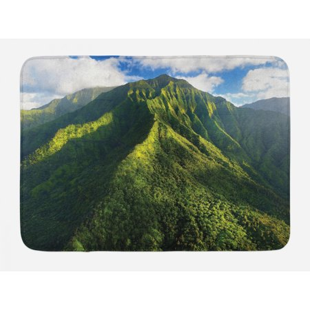 Mountain Bath Mat, Aerial View of Jungle Forest on the Mountains Tropical Exotic Hawaii Nature, Non-Slip Plush Mat Bathroom Kitchen Laundry Room Decor, 29.5 X 17.5 Inches, Green Blue White, Ambesonne