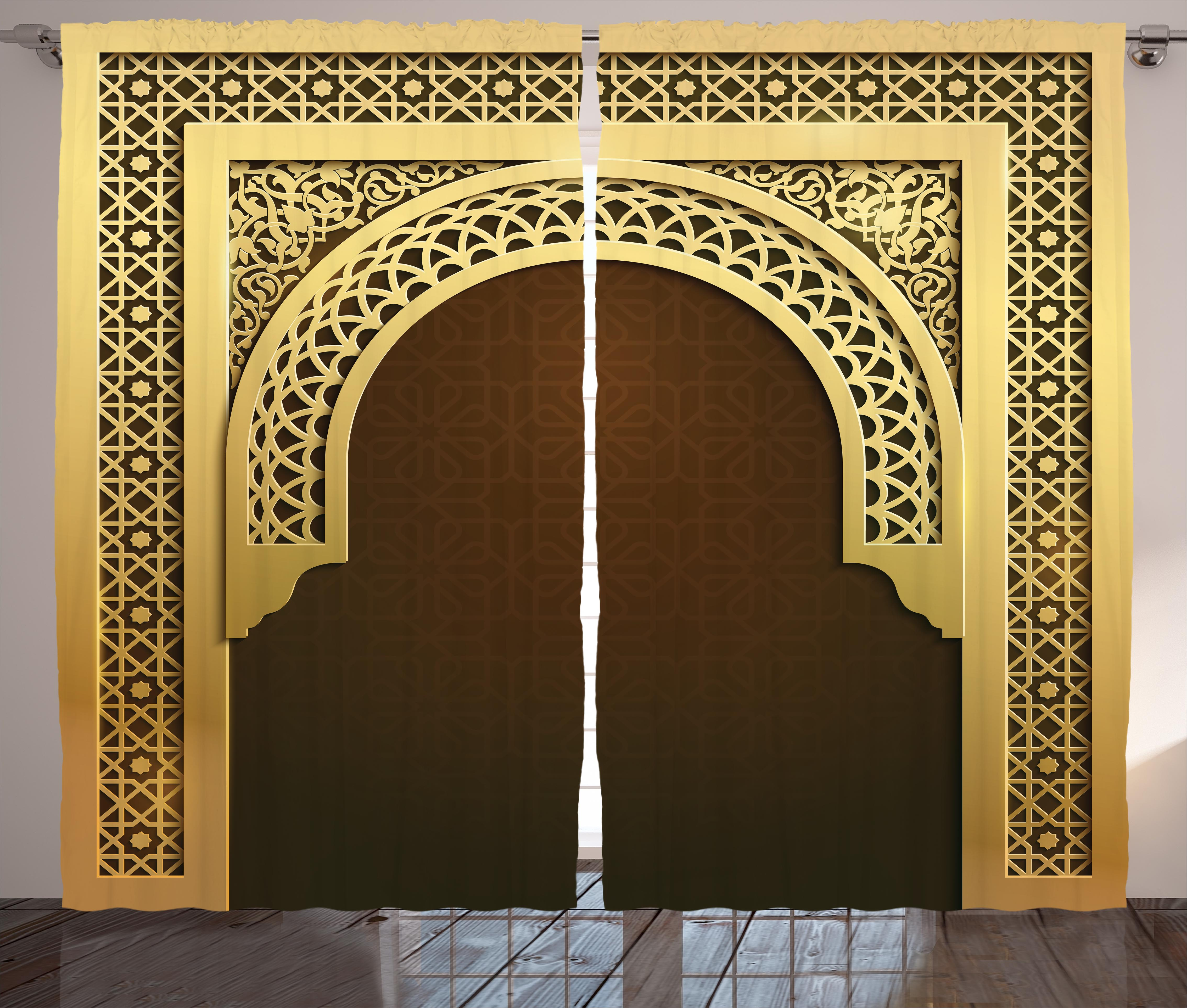 Moroccan Curtains 2 Panels Set, Middle Eastern Ramadan Greeting Scroll Arch... by Kozmos