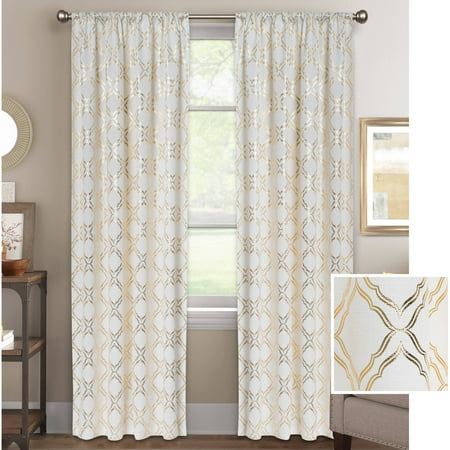 Better Homes And Gardens Metallic Trellis Gold Foil Curtain Panel Walmartcom