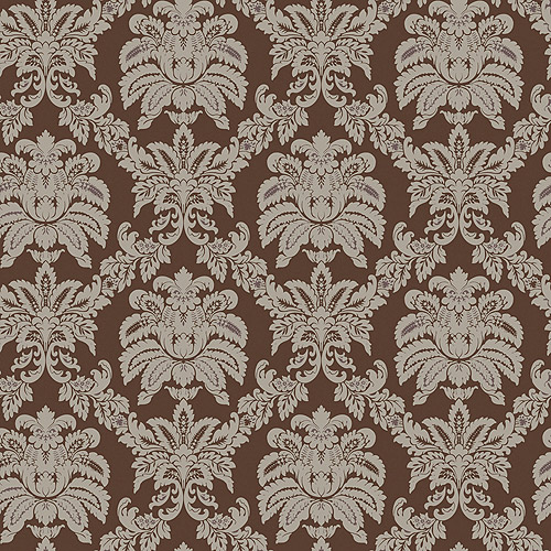 Blue Mountain Small Damask Wallcovering, Brown/Metallic