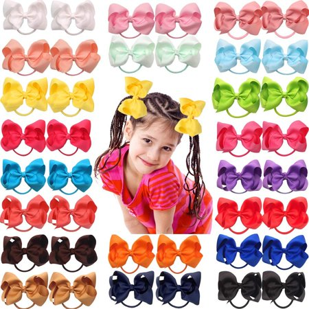 40Pcs 4.5 Inch Large Big Bows Hair Ties Ponytail Holder Elastic Hair Bands Boutique Pinwheel Hair Bows for Girls Toddlers Kids Teens Pairs 40pcs-bow ties - Boutique For Children