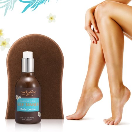 Luckyfine Self Tanner, Organic & Natural Sunless Tanning Lotion for Bronze and Golden Tan over Face, Body, Arms and