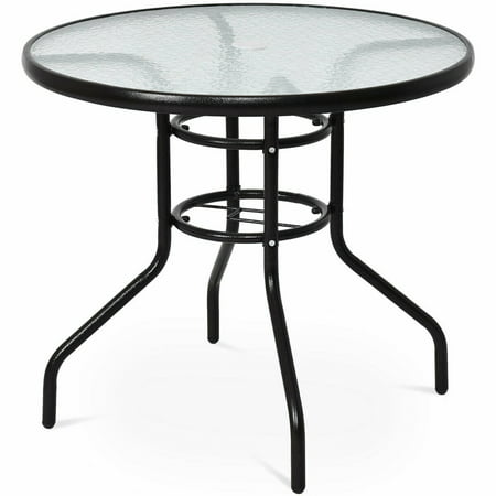 Costway 31 1/2'' Patio Round Table Steel Frame Dining Table Patio Furniture Glass Top Glass Top Patio Tables
