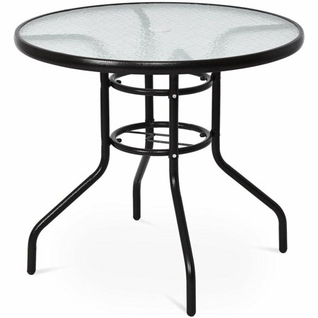 Costway 31 1/2'' Patio Round Table Steel Frame Dining Table Patio Furniture Glass Top ()
