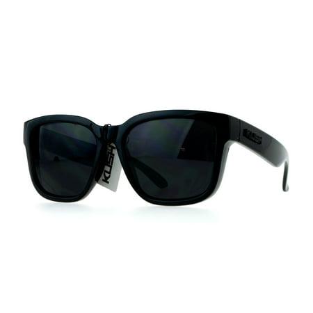 3c48882e8b kush mens all black gangster oversize horn rim cholo sunglasses shinny -  Walmart.com
