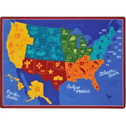 Joycarpets 1869C Rectangular States Of The Nation Rug - 5 Ft. 4 in. x 7 Ft. 8 in.
