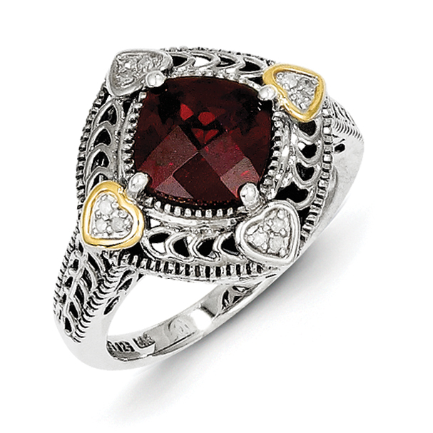 Roy Rose Jewelry Sterling Silver and 14K Gold Diamond and Garnet Ring ~ Size 8 by