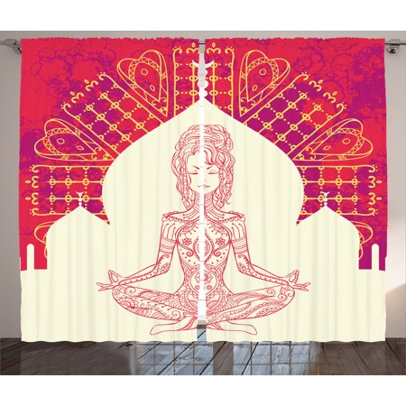 Chakra Decor Curtains 2 Panels Set, Indian Goddess Inspired Lady doing Yoga Motif on Bohemian Grungy Backdrop Print, Window Drapes for Living Room Bedroom, 108W X 84L Inches, Red Beige, by Ambesonne - Toga Goddess