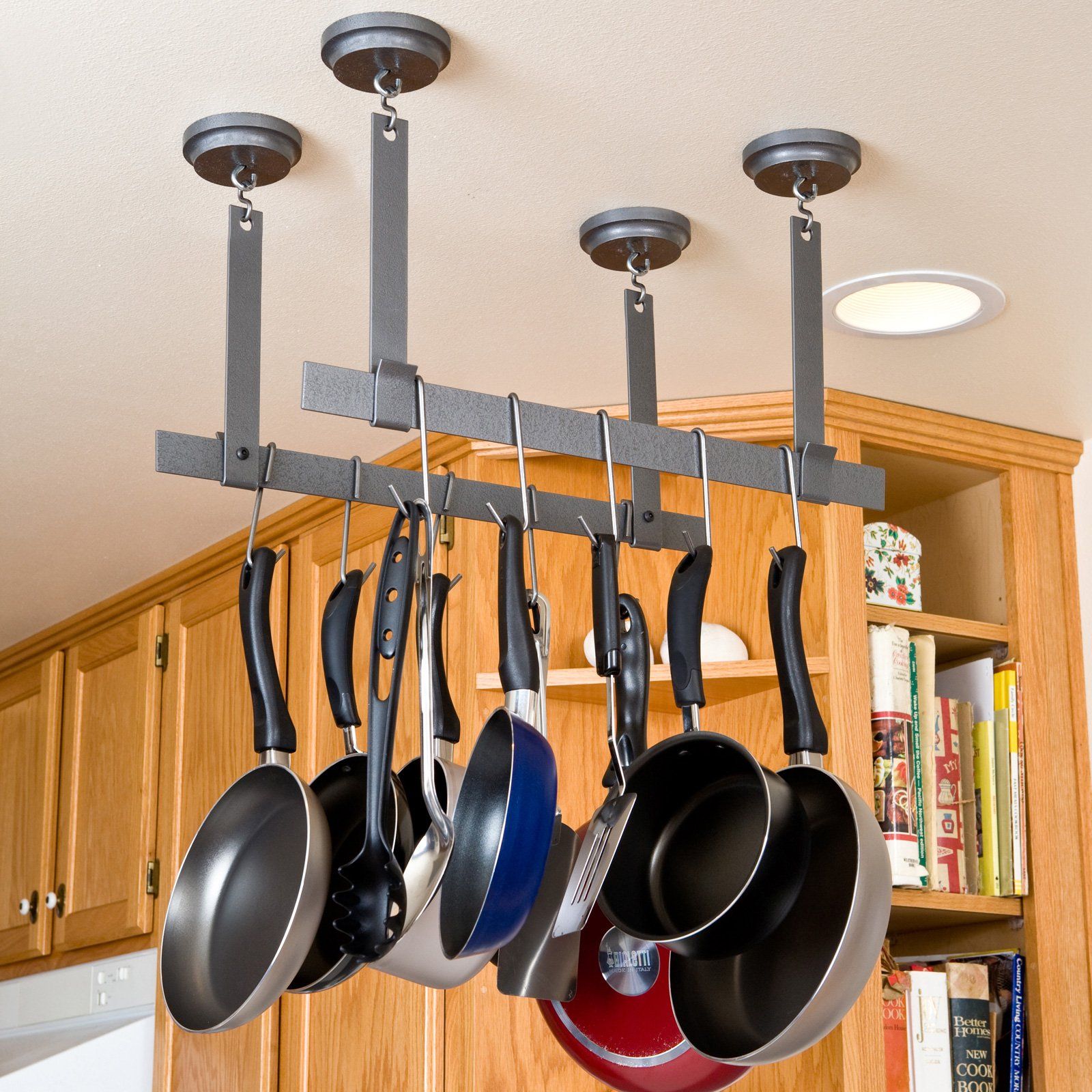 kitchen ceiling rack design new hanging of attachment pan pot home
