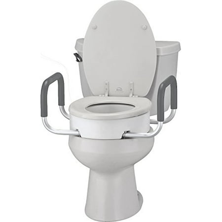 NOVA Medical Products Toilet Seat Riser with Arms, Elongated, White, 3.8 Pound