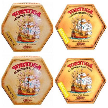 Tortuga Caribbean Rum Cake 4 oz - 4 Pack (2 Pineapple + 2 Banana)](Pineapple And Rum)