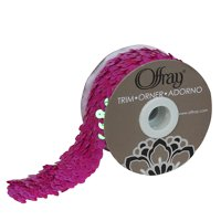 """Offray 1.5"""" Hot Pink Sequin Trim, 3 Yards, 1 Each"""
