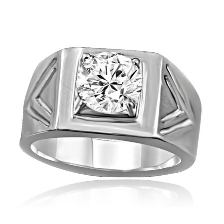 Wide Chevron Band with a 2 CT. (8mm) Round Diamond Set In Fine Stainless Steel Simulated Diamond Engagement/Wedding Sterling Silver Men Ring