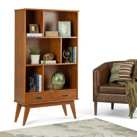 Simpli Home Draper Mid Century Wide Bookcase and Storage Unit ()