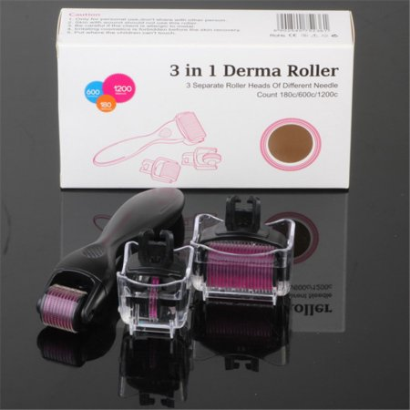 Make Up 3 In 1 Micro Derma Roller Titanium 180/600/1200(0.5-1.5mm) Needles Skin Beauty Care Face Anti Aging Massage Tool Roller Care Kit-Black