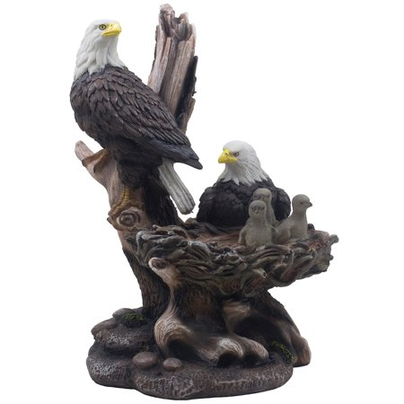 Decorative eagle family at bird nest statue for rustic for Eagle decorations home