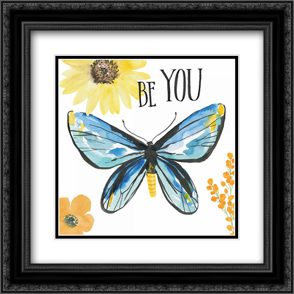 Beautiful Butterfly III 2x Matted 20x20 Black Ornate Framed Art Print by Miller, Sara Zieve