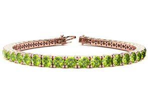 7.5 Inch 9 3 4 Carat Peridot Tennis Bracelet In 14K Rose Gold by