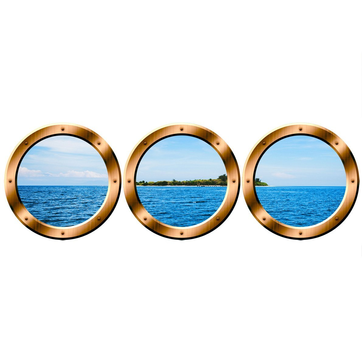 "VWAQ Scenic Ocean Sticker / PORTHOLES - Tropical Island Wall Decor - VWAQ-SPW4 (20"" Variation, Bronze)"