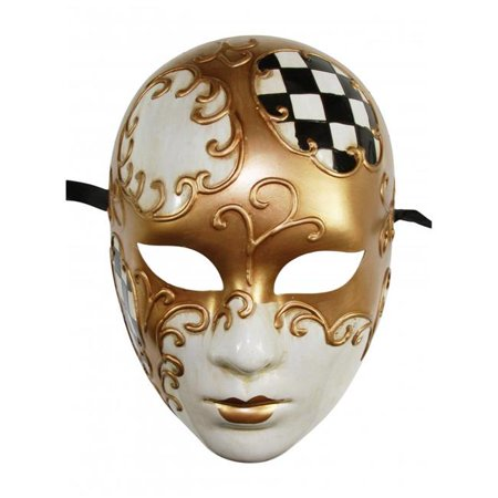 Kayso PM030BK Black & Gold Full Face Plastic Venetian - Full Venetian Mask