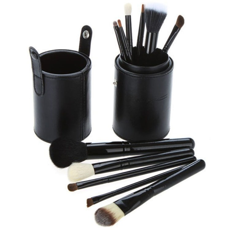OH Fashion Makeup Brushes set Midnight Black 12 Pcs Powder, Eyeshadow, Blush , Foundation , Blending , Eyeliner , Lip , Great for Highlighting & Contouring, Includes a cylindrical case for storage