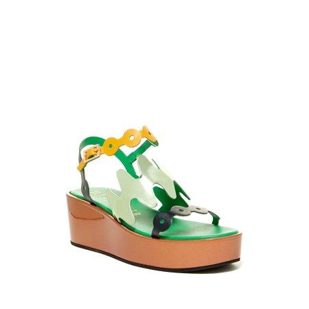 Designer Platform - Ivy Kirzhner Figaro Menthol Colorful Designer Platform Flatform Wedge Sandal (7)