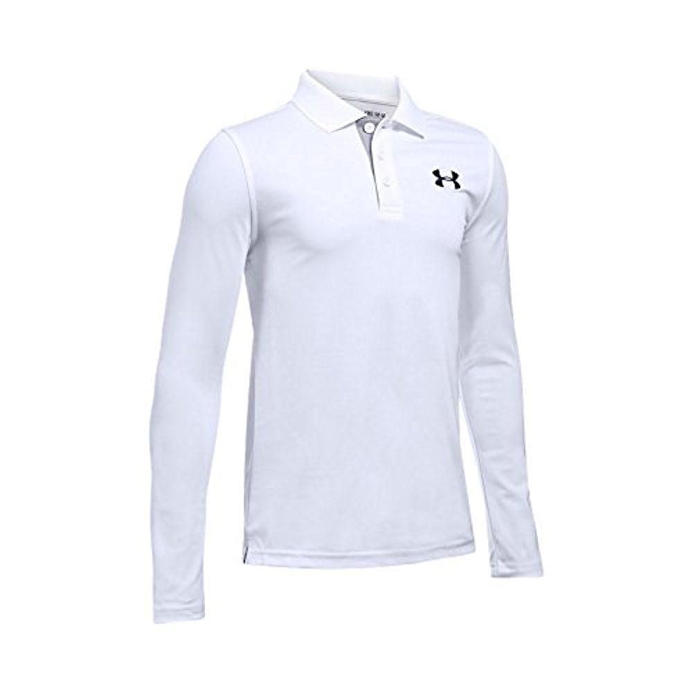Under Armour Boys' Match Play Long Sleeve Polo, White/True Gray Heather, Youth Medium