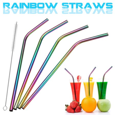 8Pcs Stainless Steel Drink Straws + Cleaning Brush Kit Set Straight / Bent Drinking Metal Straw Washable Reusable NON-TOXIC Rainbow Color For Tumblers Coffee Juice Cold Beverage](Straw Mats For Sale)